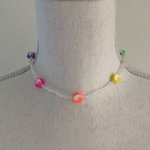 "Handmade 90's vibes Y2K yin yang rainbow beaded necklace chocked 14.8"" long"